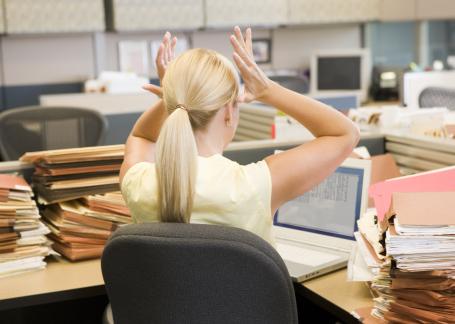 Stress, Woman, Work, computer small